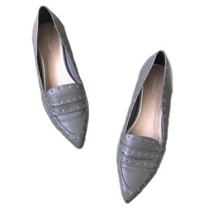 TOPSHOP Gray Studded Pointed Toe Loafer Flats